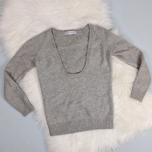 Zara Grey Cashmere Silk Scoop Neck Sweater Small